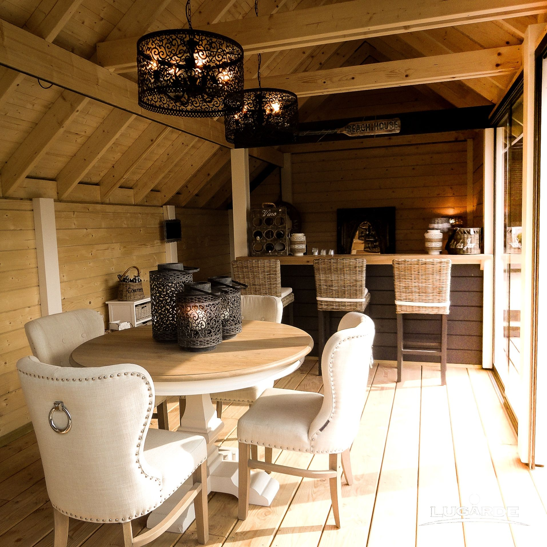 Rustic Log Cabin Home Interior With A Hint Of Luxury Logcabin Garden Logcabinhome Gardendesign Log Cabin Interior Summer House Interiors Garden Log Cabins