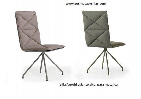 Silla moderna con respaldo alto Arnold tapizada con pata metalica ...