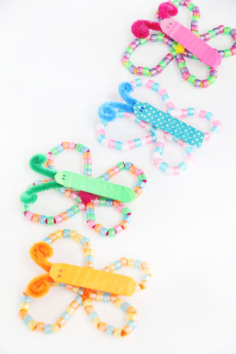 Colorful Bead Butterfly Kids Craft Kids Craft Ideas Pinterest