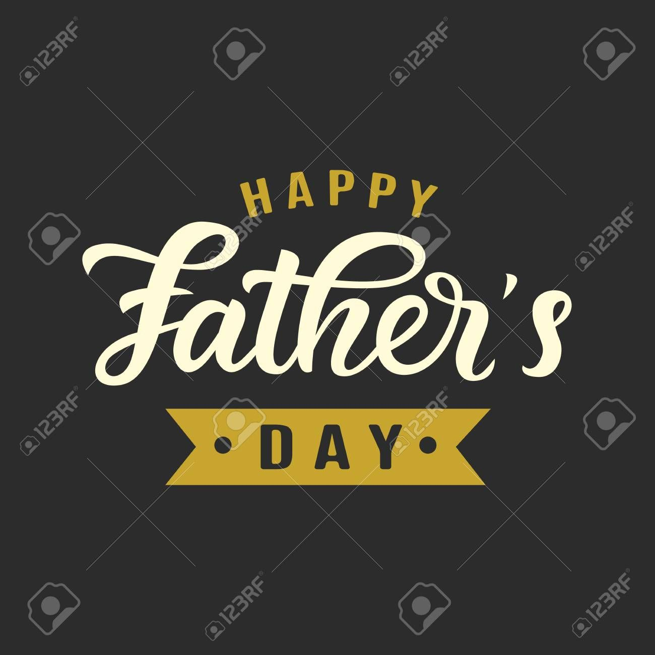 Happy Fathers Day greeting with hand written lettering Typography design template for poster banner gift card t shirt print label badge Retro vintage style Vector illustr...