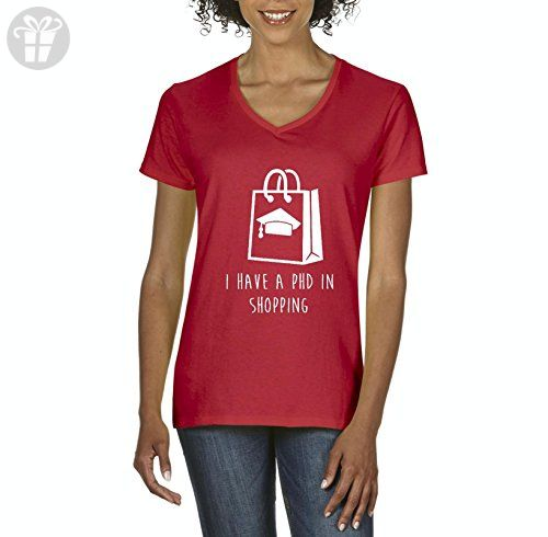 Ugo I Have a PHD in Shopping Christmas Birthday Humor Gift Match w Hats Bags Jeans Women's V-Neck T-Shirt Tee - Birthday shirts (*Amazon Partner-Link)
