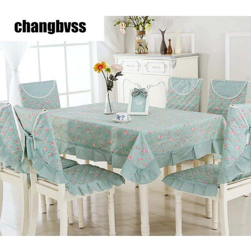 Spring Style Green Table Cloth 9pcs Set Chair Mat Chair Cover Tablecloth Set Home Party Wedding Tablecloth Toalha D Table Cloth Green Table Dining Table Chairs