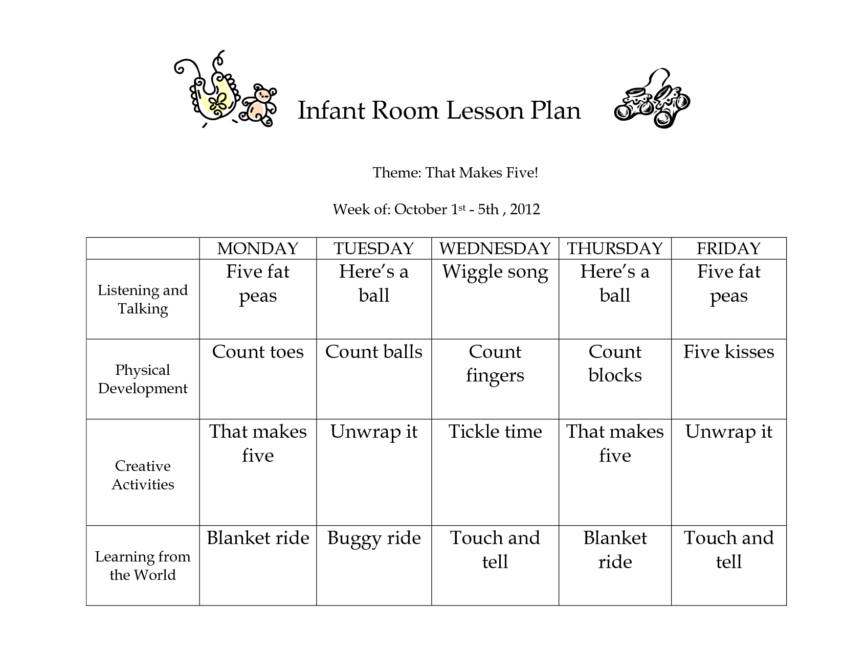 Infant Room Lesson Plan Theme That Makes Five Week Of Classroom - Creative curriculum lesson plan template for infants and toddlers