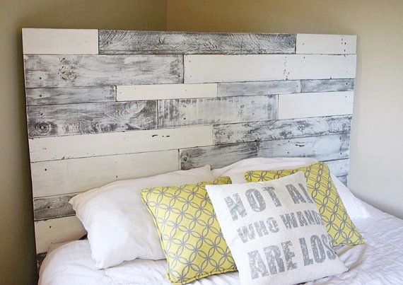 Pallet headboard (white/grey), pallet headboard, wood headboard ...