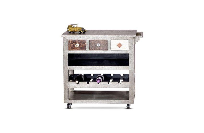 Küchenwagen NICE - Mango Metall \ Weiteres Weinregale - küchenwagen holz massiv