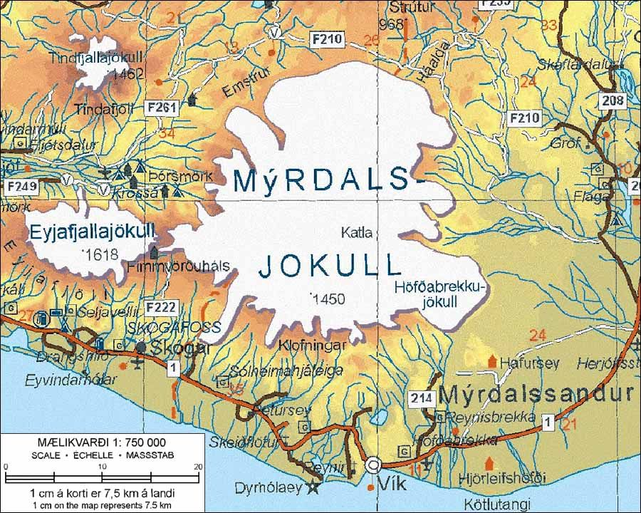 Topographic map of Katla Myrdalsjokull Iceland and the