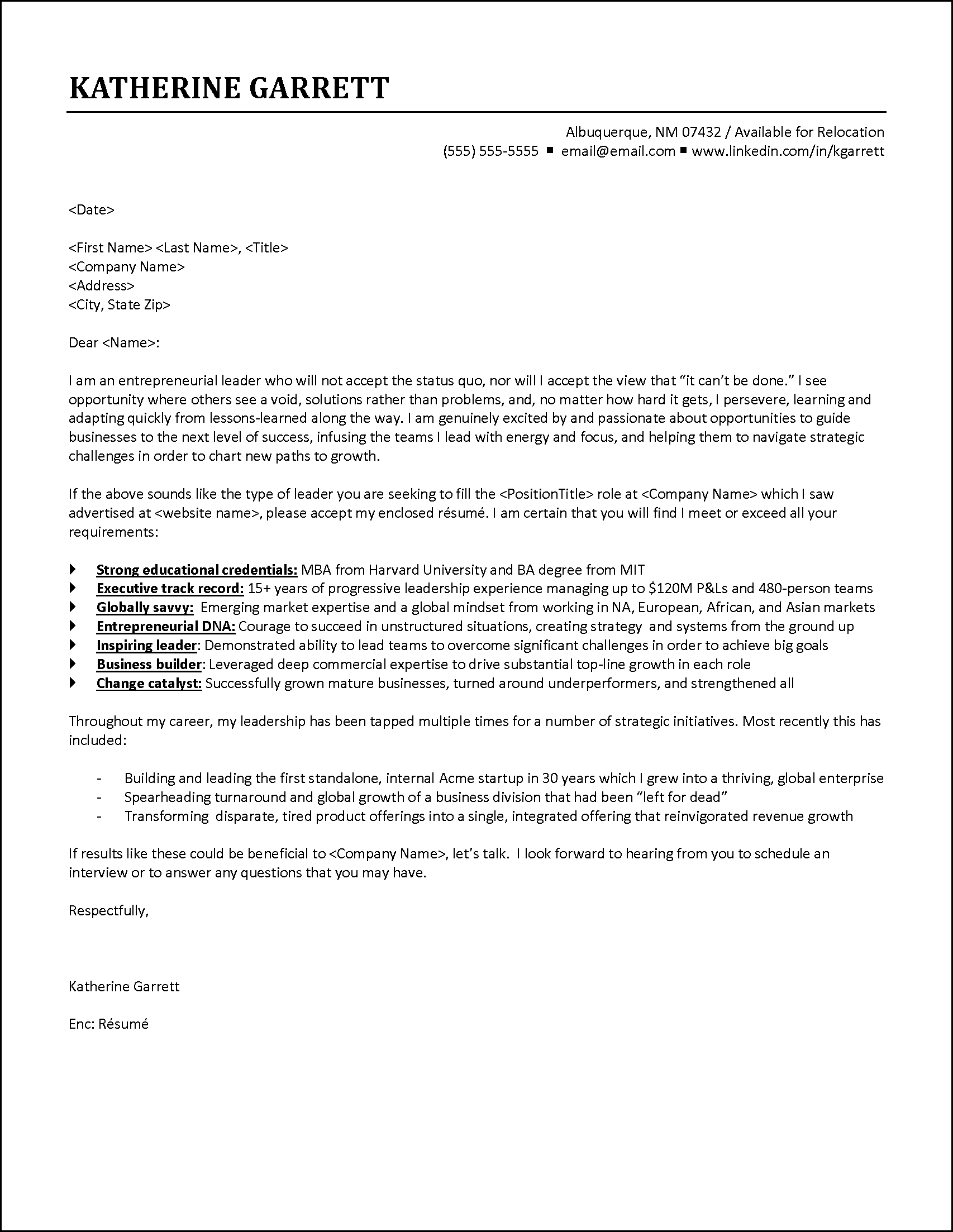 cover letter example executive responds to job announcement - Modern Cover Letter Examples