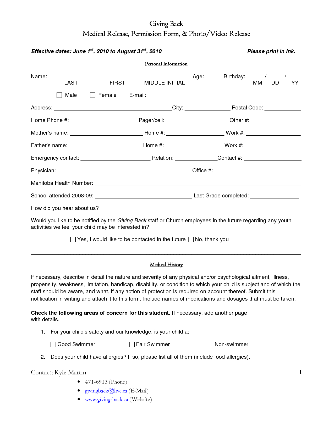 Back to Work Medical Release Form | Charting, Tracking ...