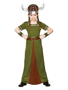 Viking Warrior Girl Costume Kids School Book week Fancy dress Outfit Story Histo
