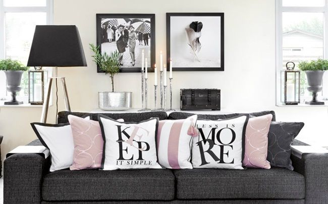 Large Square Black And White Photos Hung Above Sofa