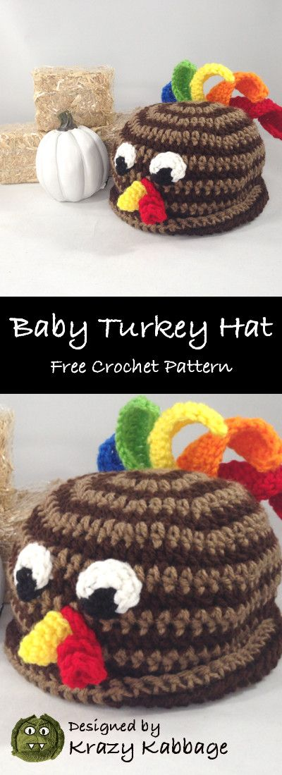 9673e3c14fe Little Turkey Hat Crochet Pattern - Krazy Kabbage  Thanksgiving  Turkey   baby  hat  rooster  crochet  pattern  free  spiral  crochetfeather   crochetturkey ...
