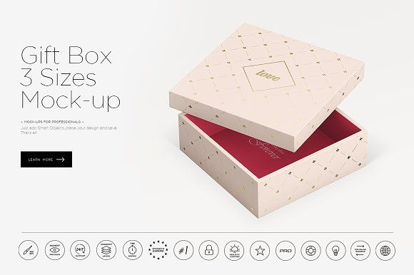 Download Gift Box 3 Sizes Mock Up Box Mockup Mockup Gift Box