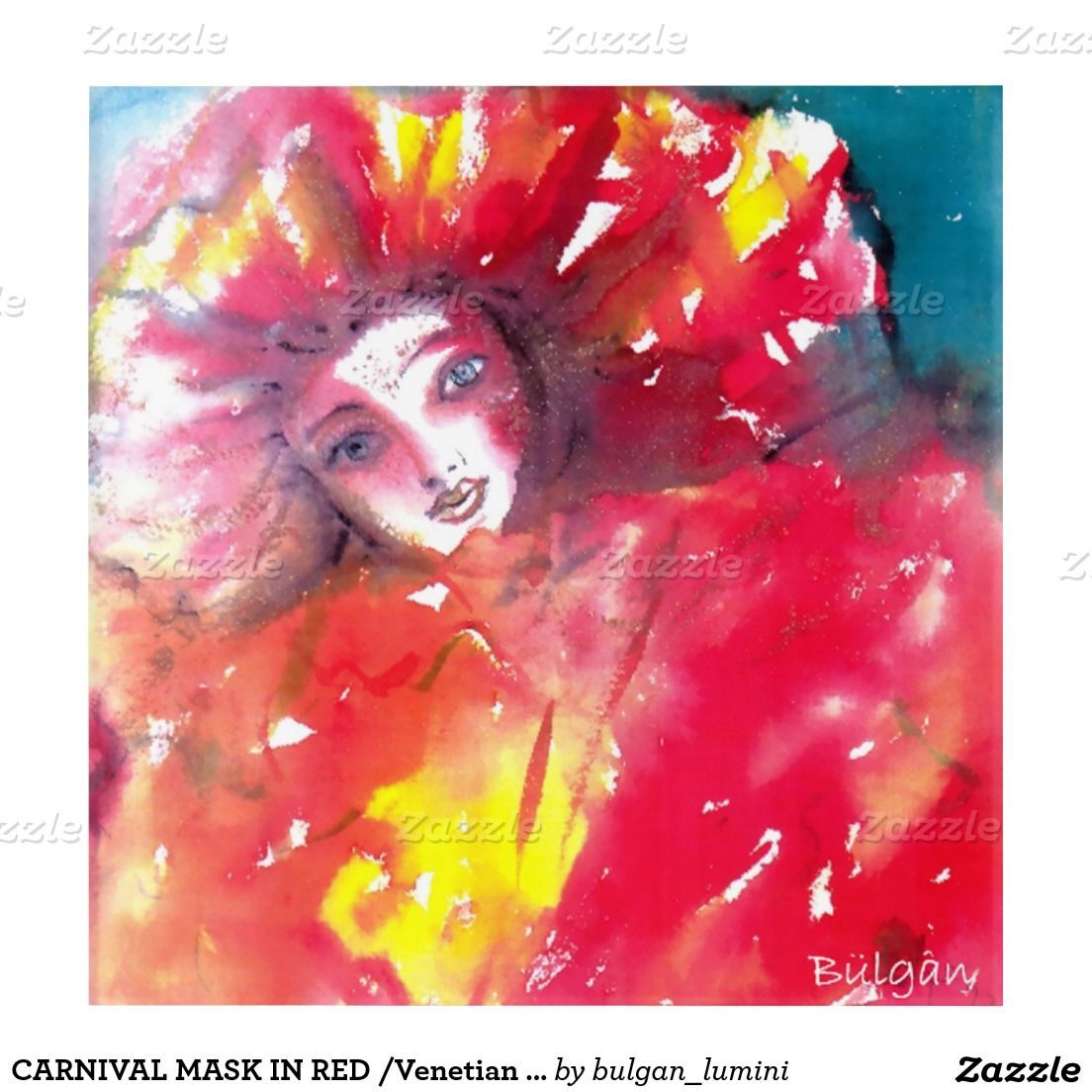 CARNIVAL MASK IN RED /Venetian Masquerade Faces Acrylic Wall Art ...