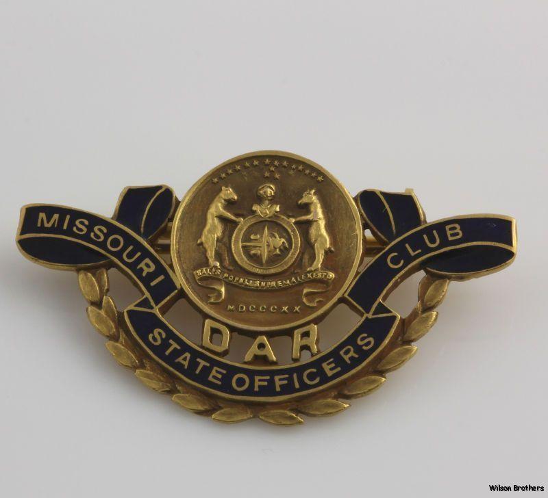 Dar Missouri Officers Club Pin 14k Gold Daughters Of The American Revolution American Revolution Missouri American