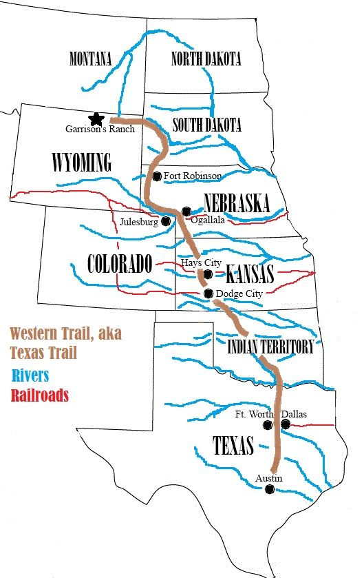 Complete Map Of Texas.My Own Map Of The Western Trail Aka Texas Trail Complete With Some