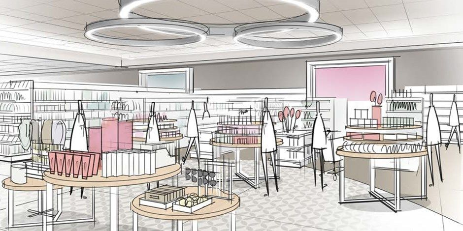A sketch showing Target's reimagined beauty, jewlery and