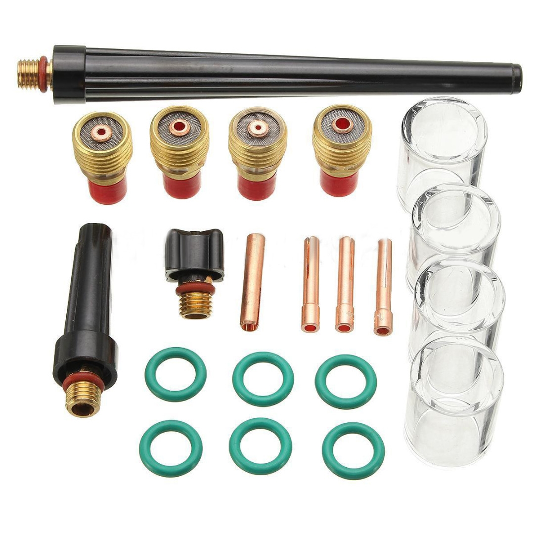 18.52$  Buy here - http://ali5xk.shopchina.info/1/go.php?t=32804582444 - 21pcs/set New Tig Welding Torch Gas Lens #10 Glass Pyrex Cup Kit For WP-9/20/25 Series Welding Accessories  #buychinaproducts