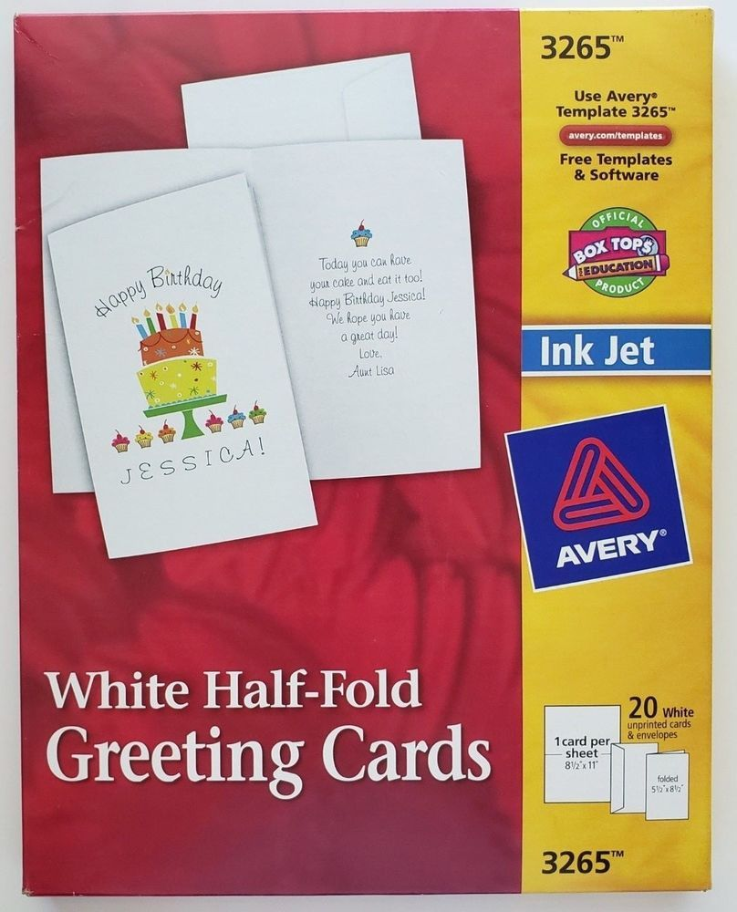Details about avery white half fold greeting cards and envelopes