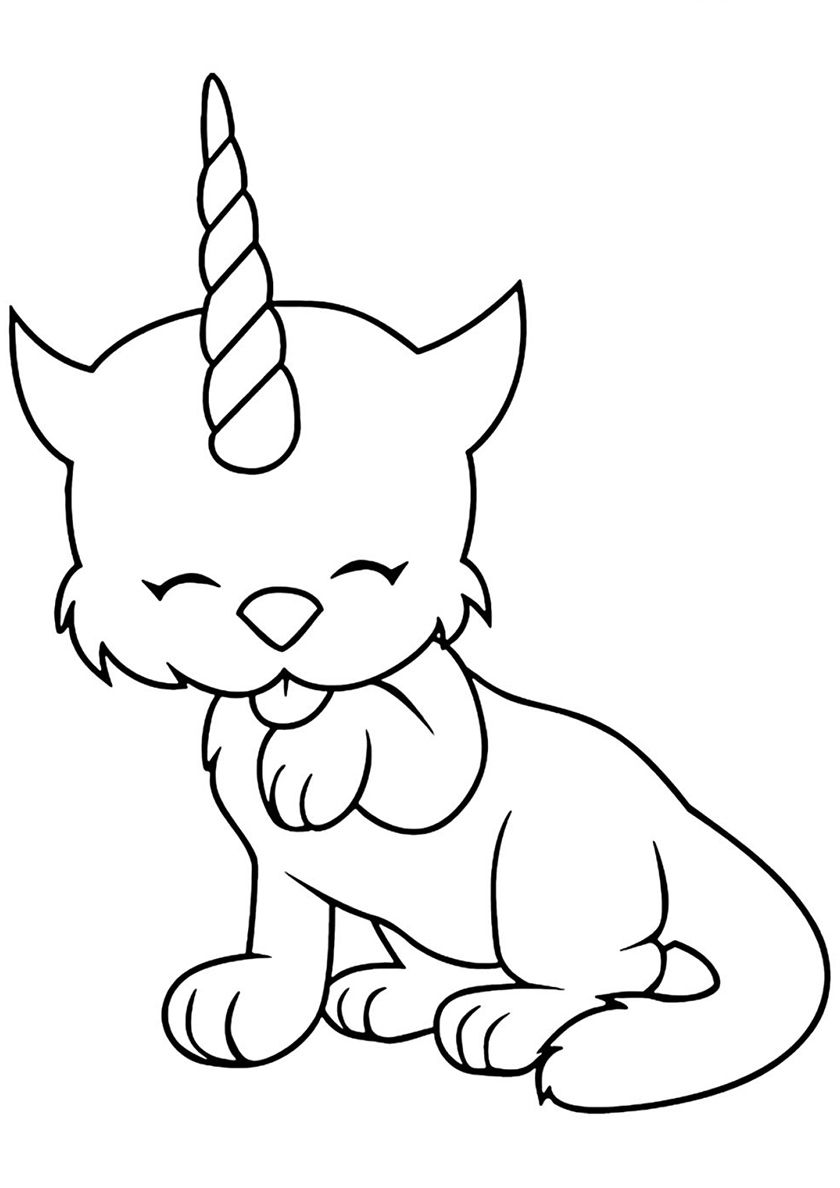 Time to Wash Unicorn coloring pages, Kitty coloring