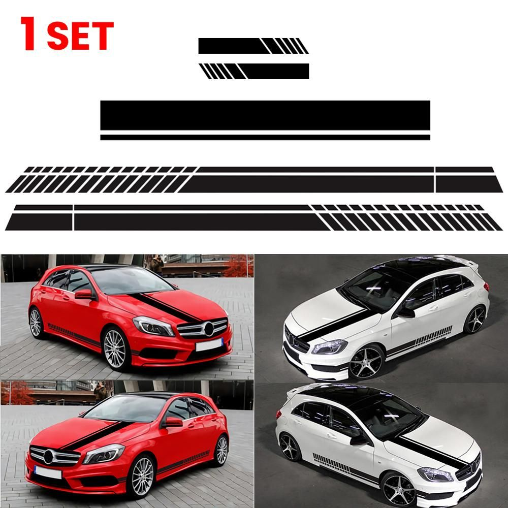 Strong Visual Impact A Good Choice For You To Renew Your Car Easy Cleaning And Maintenance Thi Hood Stripe Car Mirror Sticker Vinyl For Cars [ 1000 x 1000 Pixel ]