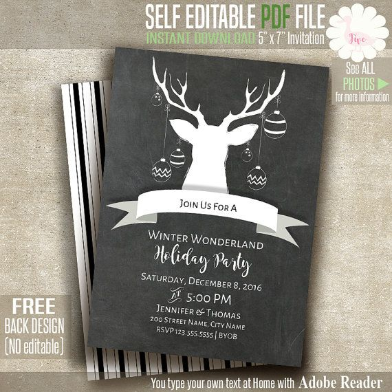 Holiday party invitation, printable chalkboard invitation, Instant - holiday party invitation