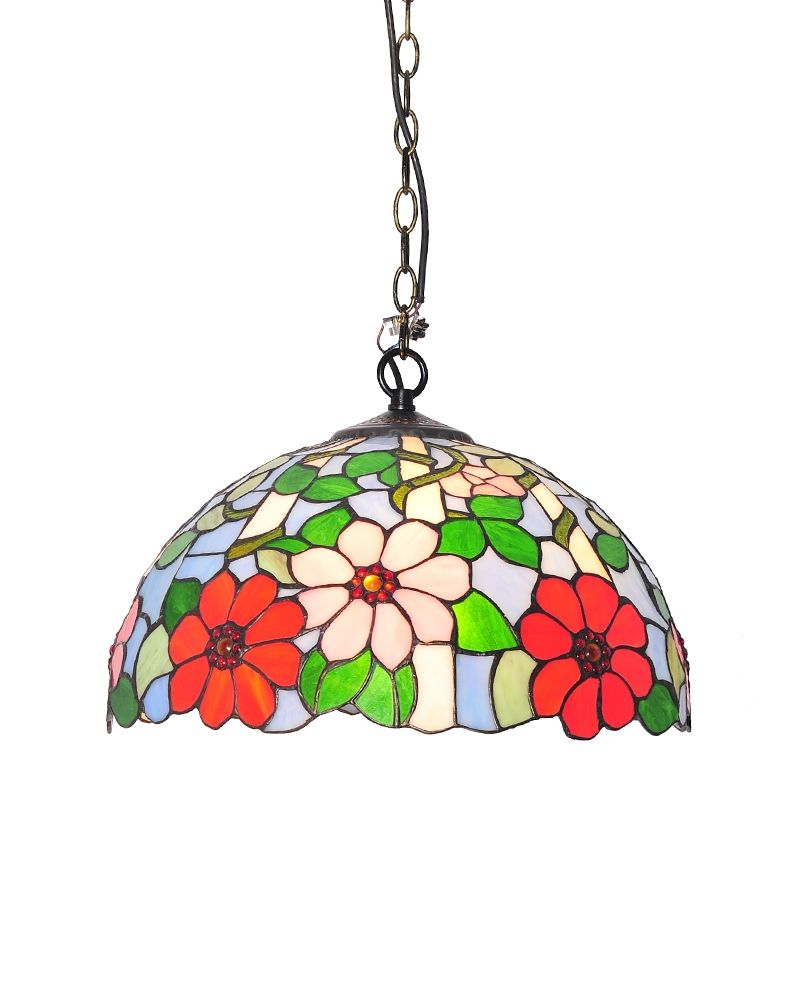 Tiffany style colorful floral pendant light with stained glass shade tiffany style colorful floral pendant light with stained glass shade parrotuncle aloadofball Choice Image