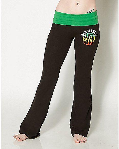 bffe57b74282f One Love Bob Marley Yoga Pants - Spencer's   Clothes   Bob marley ...