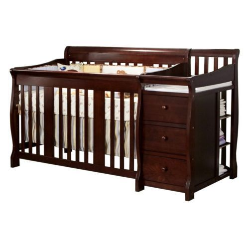4 In 1 Convertible Crib Baby Nursery Changing Table 3 Drawers Fixed Side Toddler Storkcraft Convertible Crib Cribs Baby Toddler Bed