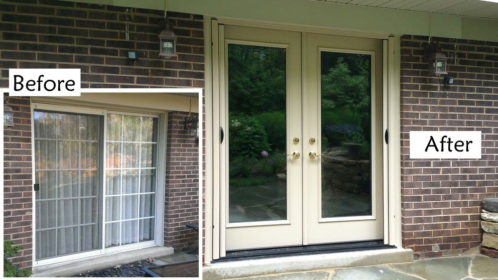 Replace sliding glass patio door with ProVia Heritage fiberglass French door retractable screen
