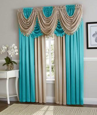 Hyatt Curtain Set Aqua Blue Antique Taupe With Images Gold Curtains Living Room Curtains Elegant Curtains