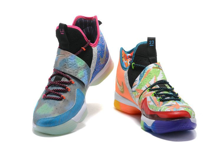 new products 1d6fc 2a0eb New LBJ Sneakers LeBron 14 XIV Shoes 2017 What The New LBJ Sneakers LeBron  Lava Silver Ice Galaxy Blue
