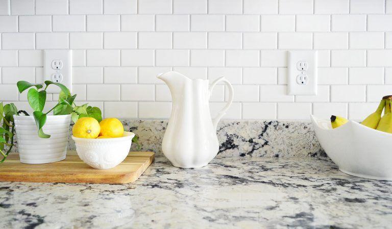White Subway Tile Kitchen Backsplash Detail With Lemons And Pitcher Subway Tile Backsplash Kitchen Kitchen Tiles Backsplash White Subway Tile Kitchen