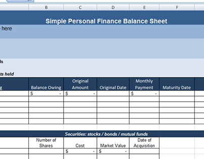 "Personal Finance Balance Sheet Template Check Out New Work On My Behance Portfolio ""simple Personal ."