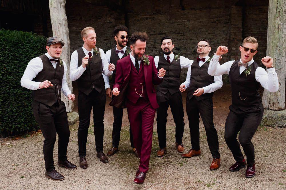 Groom in Burgundy Suit Groom, groomsmen attire, Maroon