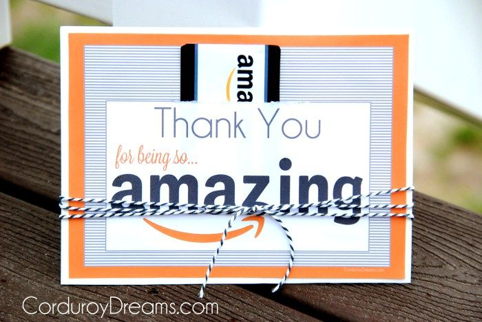 Thank You With Amazon Gift Card Free Printable Download The Creative Mom Amazon Gift Card Free Teacher Cards Teacher Appreciation