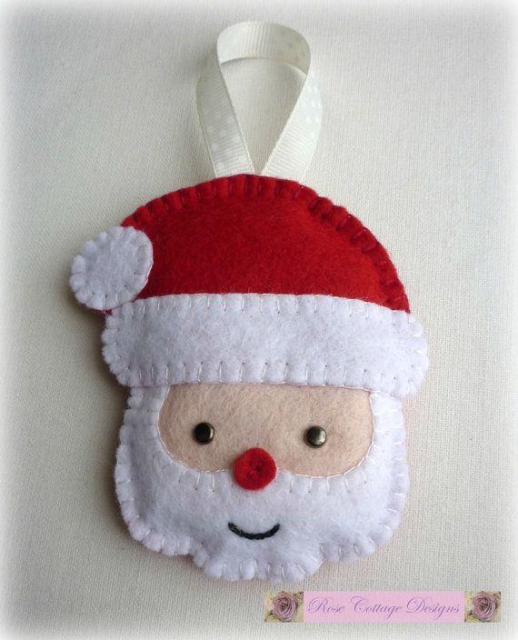 3 adornos hechos a mano de fieltro santa por - Adornos de navidad hechos a mano ...