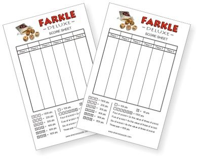 Free Farkle Score Sheet   Laminate And Pass Out