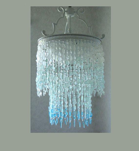 Sea Glass Chandelier Lighting Fixture Coastal Decor Blue