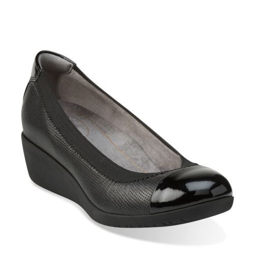 Petula Sadie Black Leather - Clarks Womens Shoes - Womens Heels and Flats -  Clarks -