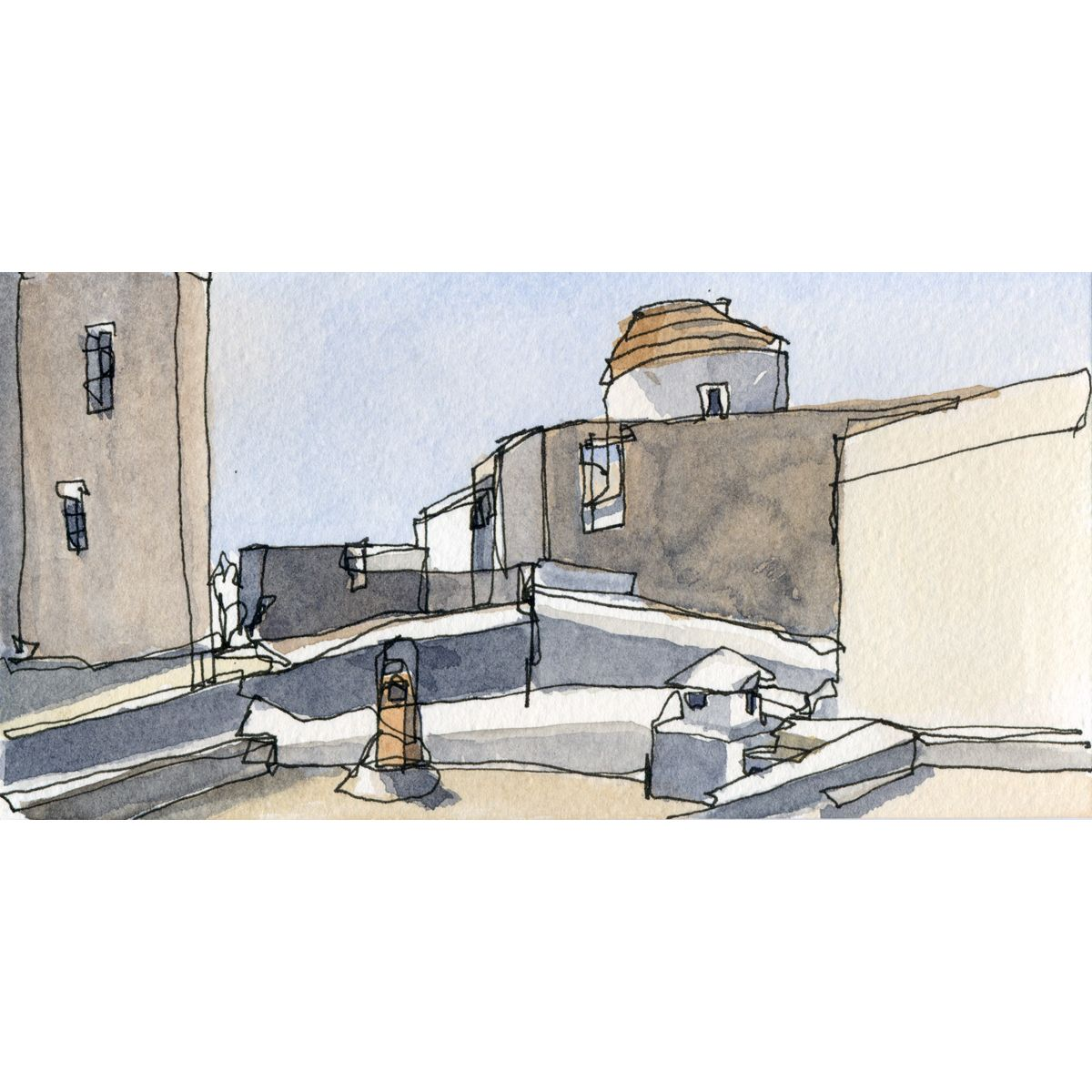 Most buildings under the walls of the monastery are white, not all. Water colors. Dimensions 10 x 20 cm