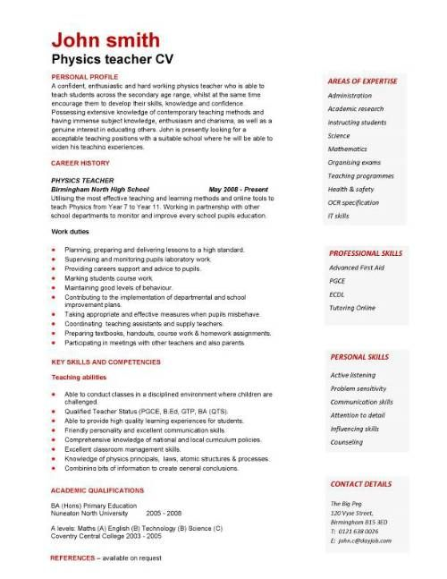 A expertly laid out physics teacher curriculum vitae example al - resume or cv examples
