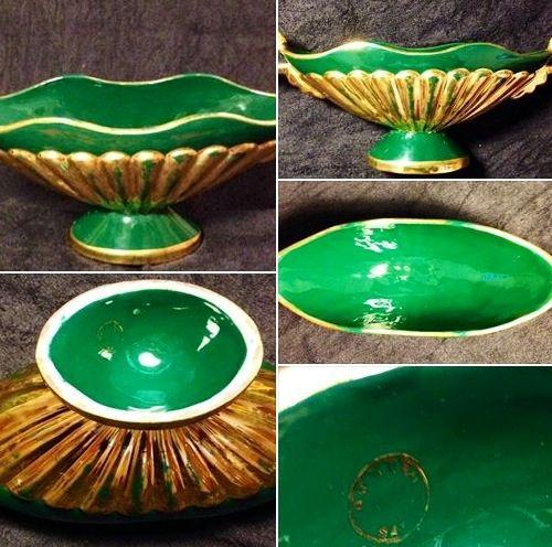 CENTROTAVOLA ANNI '50. Alzatina in ceramica verde smeraldo ...