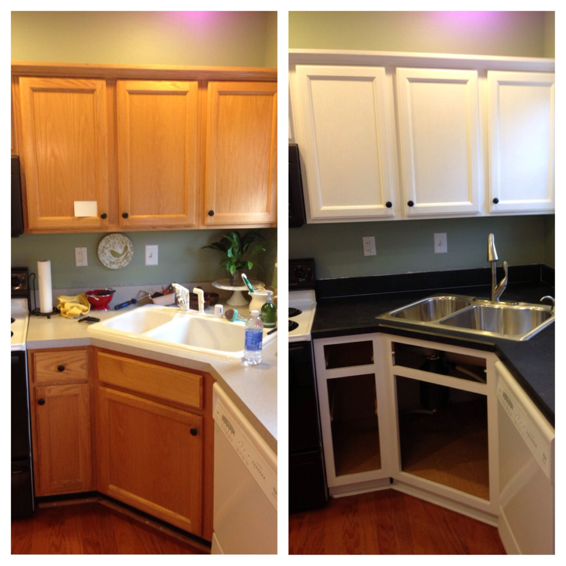 Diy painted builder grade oak cabinets white used for White oak cabinets kitchen