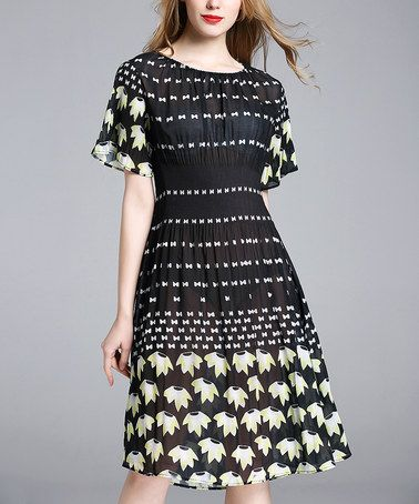 40b059e9611a Another great find on  zulily! Black   White Flower Cinched-Waist Dress -