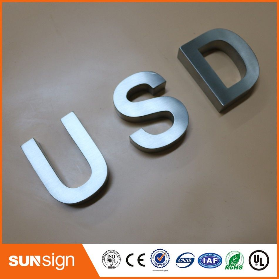 Cheap Metal Letters Custom 3D Stainless Steel Sign Letter Brushed Metal Letters Shop