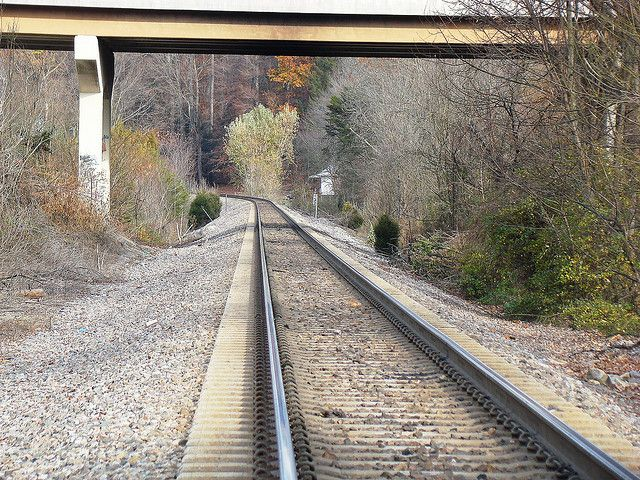 CSX mainline with welded rail and concrete ties in view to