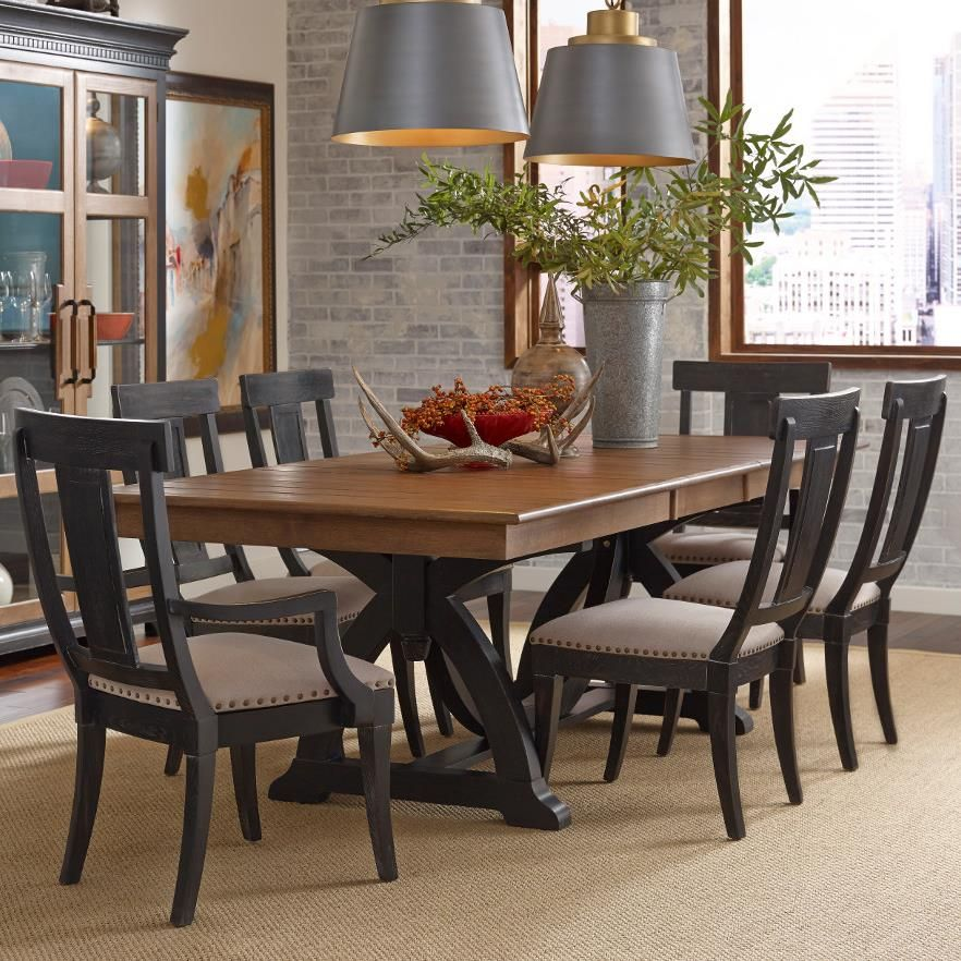 Stone Ridge Seven Piece Dining Set With Rectangular Table And Black Painted Chairs By Kincaid Furnitu Dining Room Sets Furniture Dining Table Kincaid Furniture