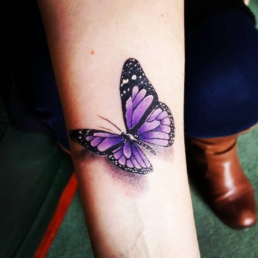 Purple Butterfly Tattoo On Inner Arm Purple Butterfly Tattoo