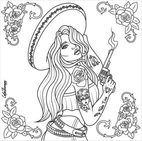 Chicano Art Coloring Pages Beautiful Chicano to color with Color Therapy httpwww