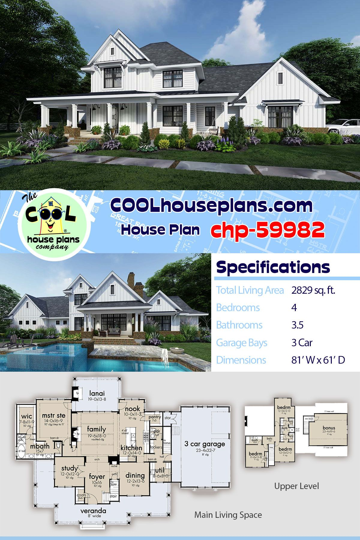 New Farmhouse Home Plan With 4 Bedrooms And 3 5 Bathrooms At Cool House Plans Farmhome Collection House Plans Farmhouse Farmhouse Style House Plans House Plans